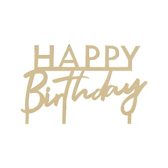 Gold Acrylic Happy Birthday Cake Topper - Must Love Party
