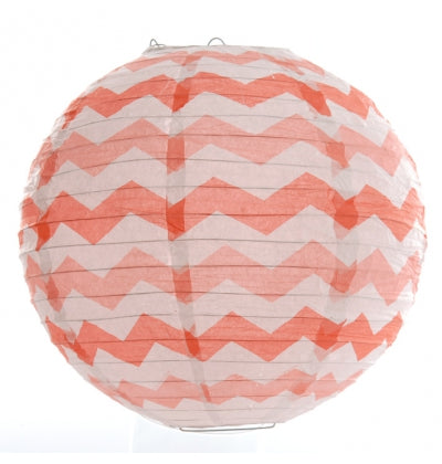 Chevron Coral Paper Lantern - Must Love Party
