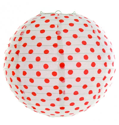 Coral Dotted Paper Lantern (1) - Must Love Party