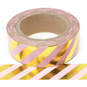 Washi Tape - Foil - Pink with Gold Stripes - Must Love Party