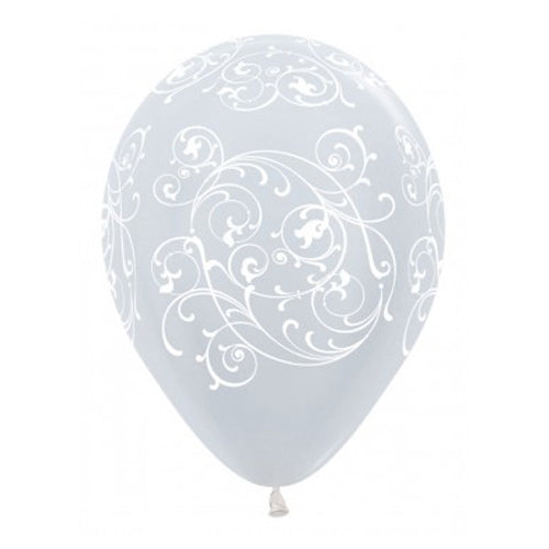 Balloons - Satin Pearl White Filigree (3) - Must Love Party