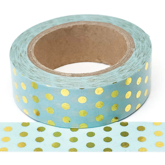 Washi Tape - Foil -Blue with Gold Dots - Must Love Party