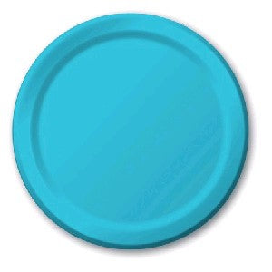 Plain Bermuda Blue Paper Plates (8) - Must Love Party
