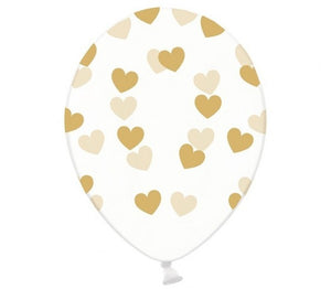 All over Gold hearts on Clear Latex Balloon