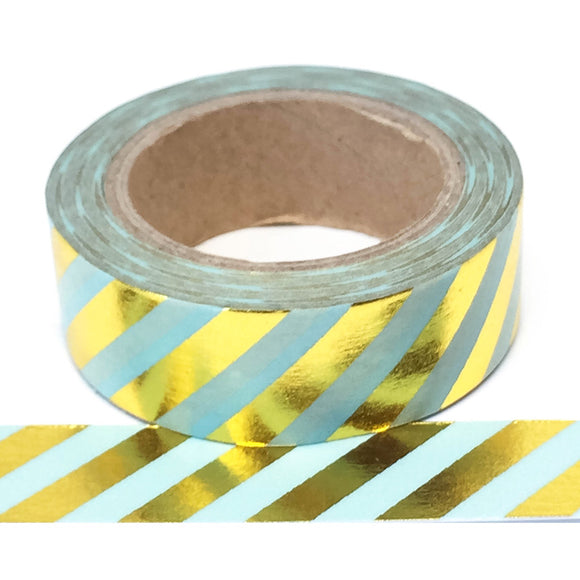 Washi Tape - Foil - Blue with Gold Stripes - Must Love Party