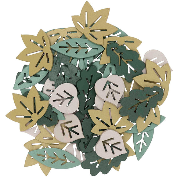 Wooden Green Leaf Mix Confetti