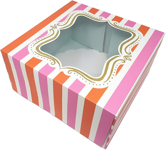 Pink & Red Striped Cake Boxes