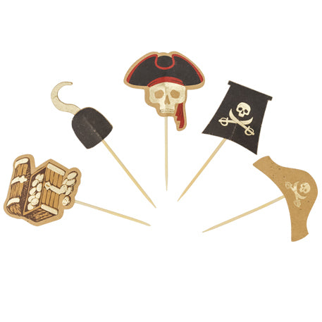 Pirate Gold Foil Cupcake Toppers or Food Picks