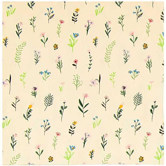 Flower Scatter on Pale Yellow Napkins