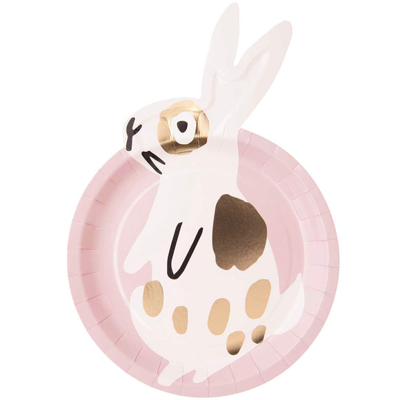 Pink Bunny Paper Plates