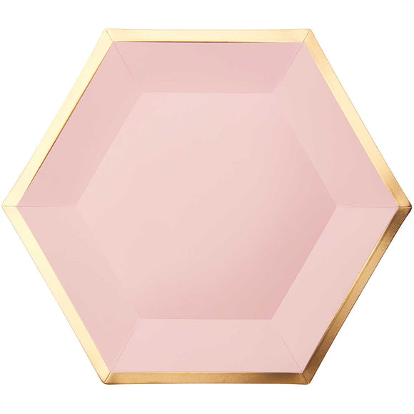 Hexagon Rose / Gold Paper Plates