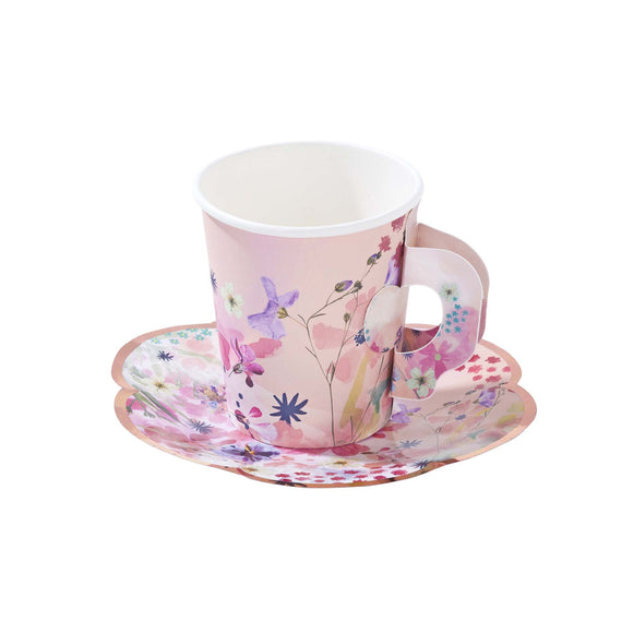 Floral Paper Tea Cups and Saucer - Must Love Party