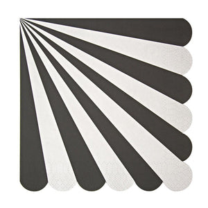 Black Fan Striped Napkins (20) - Must Love Party