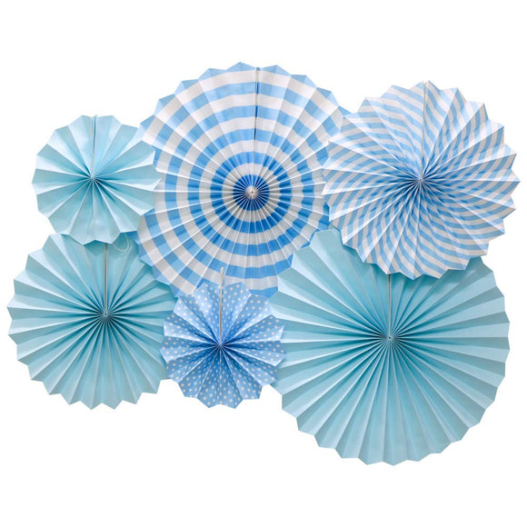 Light Blue Fan Decorations (6pcs) - Must Love Party