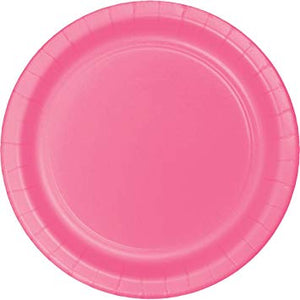 Plain Candy Pink Paper Plates - Must Love Party