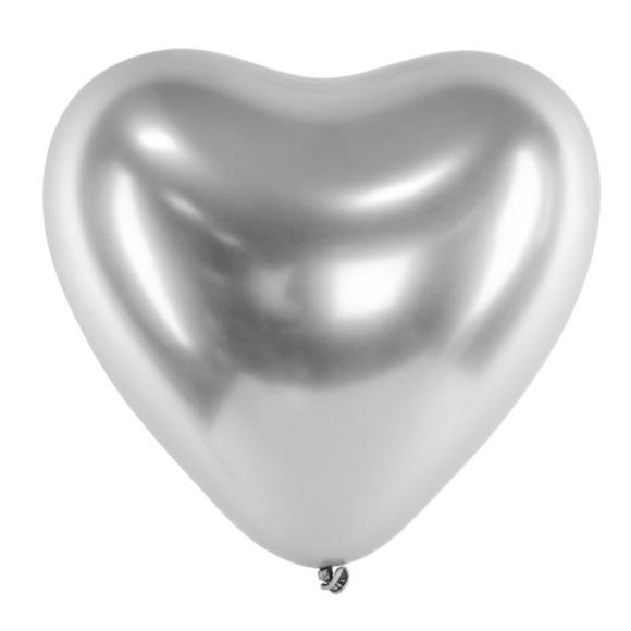 Silver Chrome Heart Balloons - Must Love Party