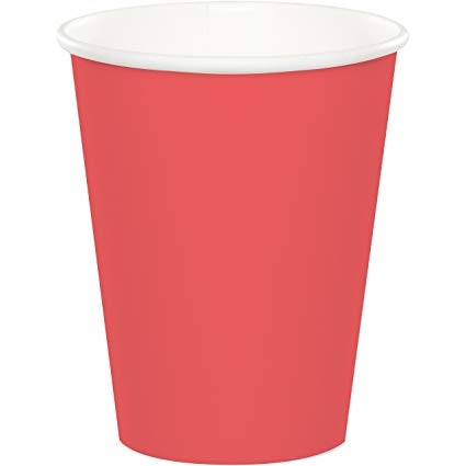 Plain Coral Paper Cups - Must Love Party