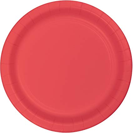Plain Coral Plates - Must Love Party