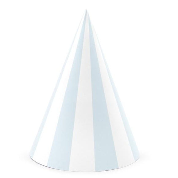 Striped Light Blue Party Hats - Must Love Party