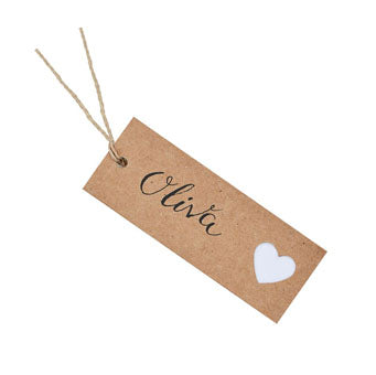Kraft Heart Luggage Tags - Must Love Party