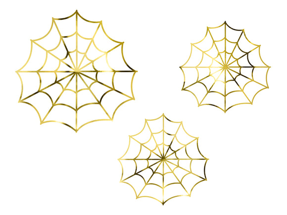 Gold Foil Spiderweb Decorations