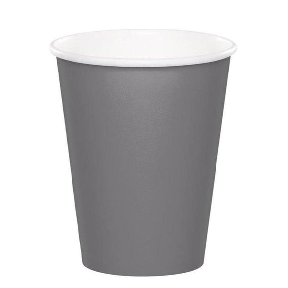 Plain Glamour Grey Paper Cups - Must Love Party