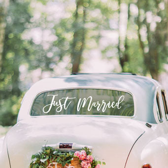 White Just Married Car Sticker - Must Love Party