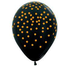 All over Gold Dots on Metallic Black Balloons