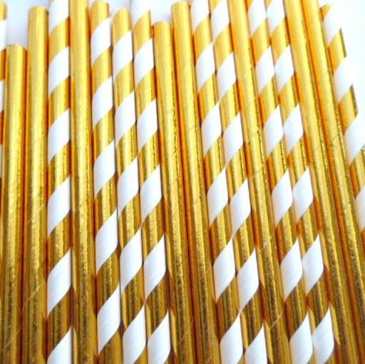 Metallic Gold & Gold/White Striped Straws - Must Love Party