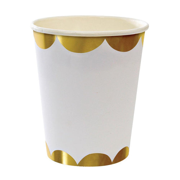 Gold Scallop Paper Cups (8) - Must Love Party