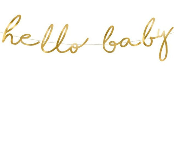 Gold Foil Hello Baby Bunting - Must Love Party