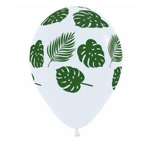 Tropical Leaves on White Balloon Bouquet (3) - Must Love Party