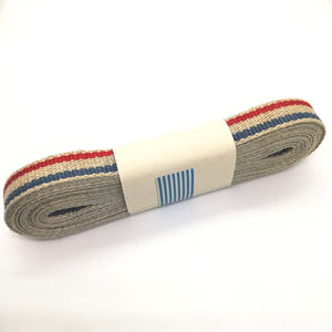 Ribbon - Flax Striped - Natural / French Red / French Blue - Must Love Party