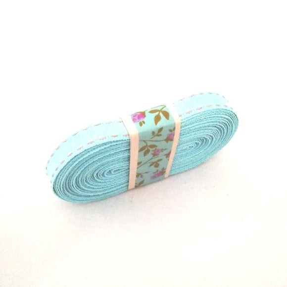 Ribbon - Petersham with Saddle Stitch - Blue with Grey - Must Love Party