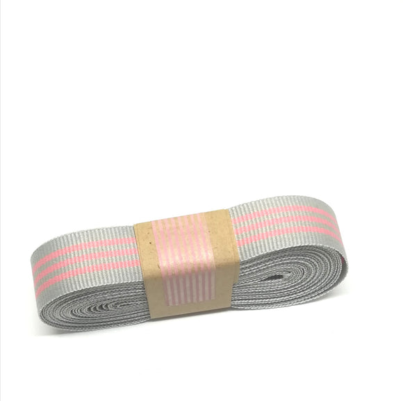 Ribbon - Petersham Striped  - Silver Grey / Eland Pink - Must Love Party