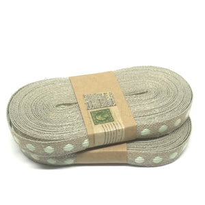 Ribbon - Flax Woven Dot - Natural / Mint - Must Love Party