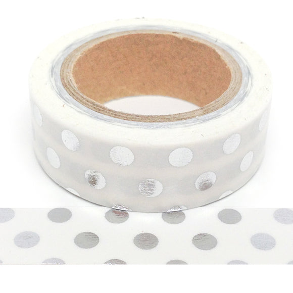 Washi Tape - Foil - White with Silver Dots - Must Love Party