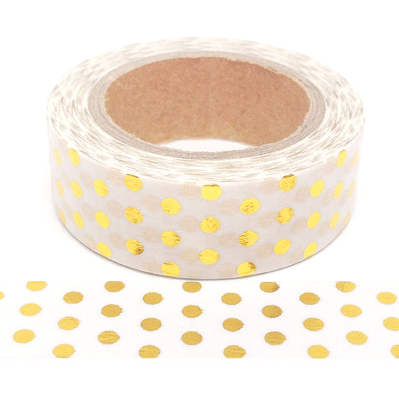 Washi Tape - Foil - White with Gold Dots - Must Love Party
