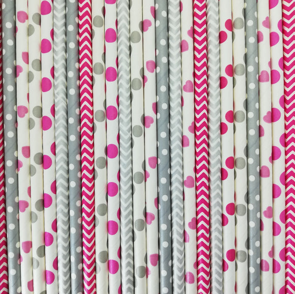 Pop of Colour - Darling Pink Paper Straws - Must Love Party