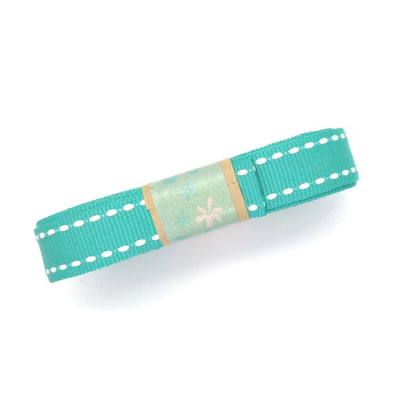 Ribbon - Petersham with Saddle Stitch - Teal with White - Must Love Party