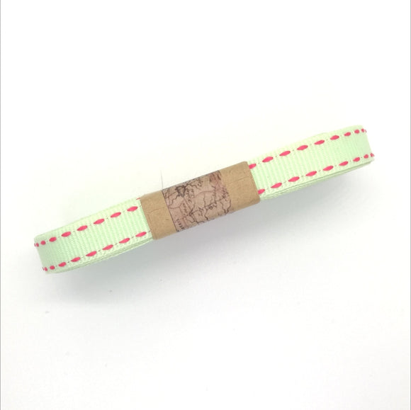 Ribbon - Petersham with Saddle Stitch - Mint with Cerise Pink - Must Love Party