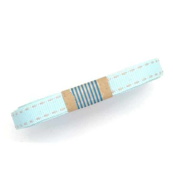 Ribbon - Petersham with Saddle Stitch - Blue with White - Must Love Party