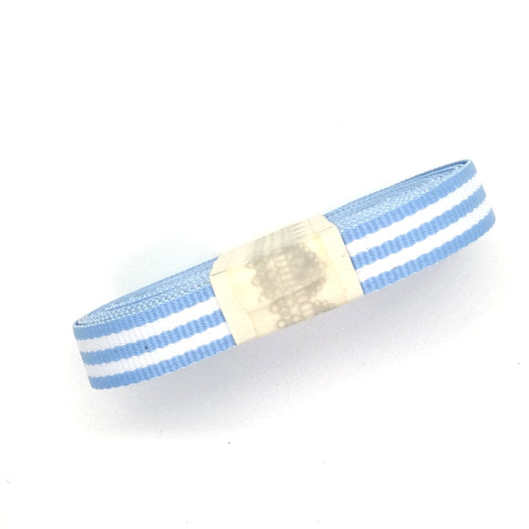 Ribbon - Fine Petersham Striped - Natural White / Blue - Must Love Party