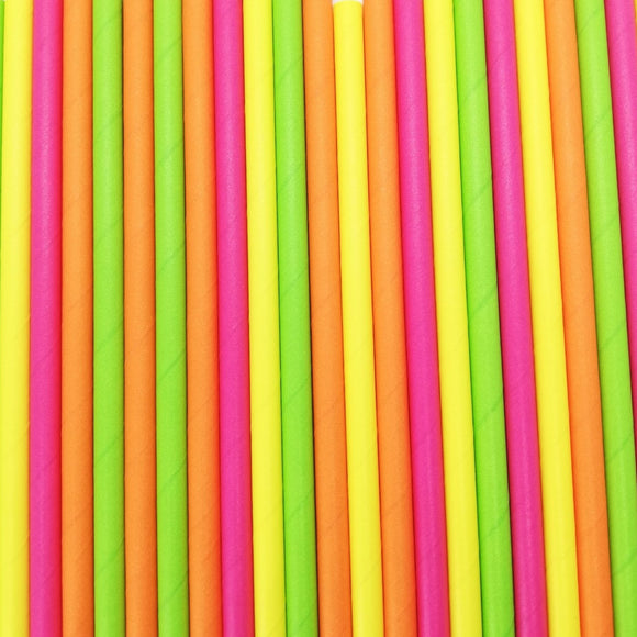 Pop of Colour -  Tropical Brights Paper Straws - Must Love Party