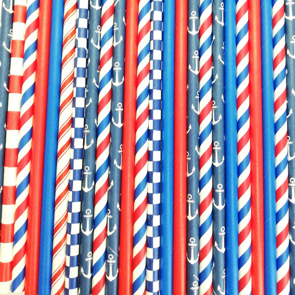 Pop of Colour -  Nautical Paper Straws - Must Love Party