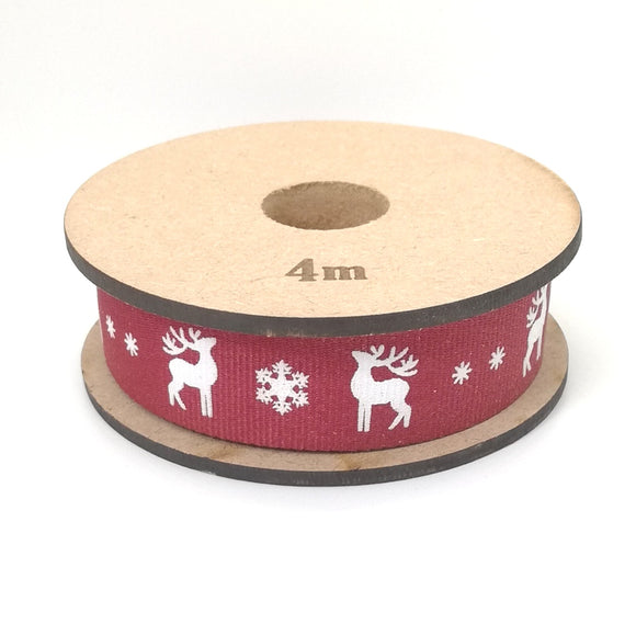 Ribbon - Reindeer - White on Maroon