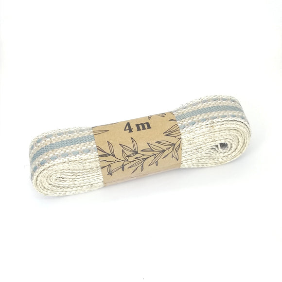 Ribbon - Linen with Duck egg stripes and stitching