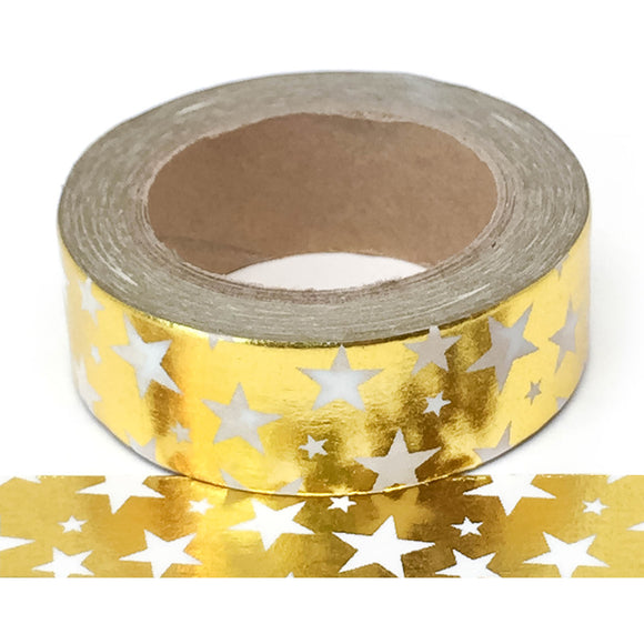 Washi Tape - Foil - Gold with White Stars - Must Love Party
