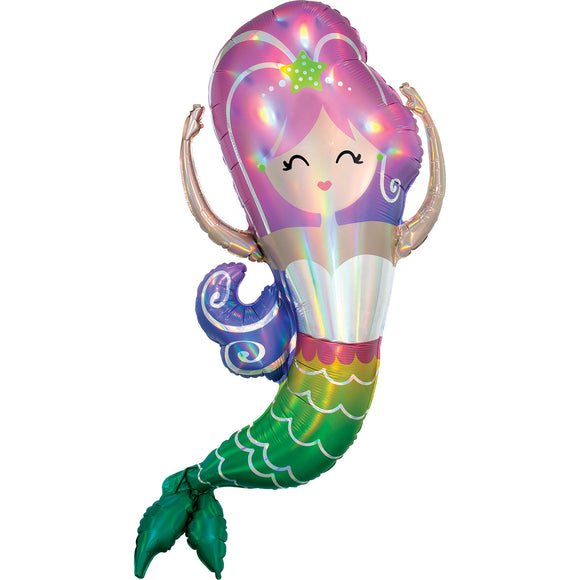Holographic Iridescent Mermaid Foil Balloon - Must Love Party