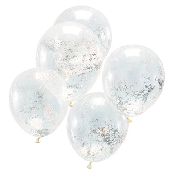 Holographic Glitter Confetti Balloons (5 pack) - Must Love Party